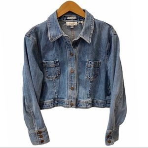 Retro Jones Frayed Denim Crop Jean Jacket Blue XL